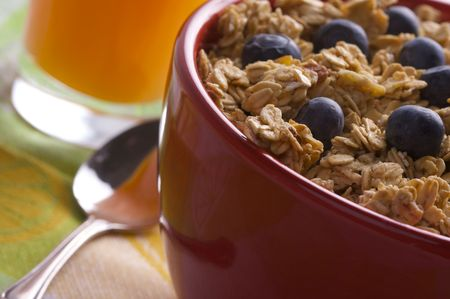 Bowl of Granola and Blueberries