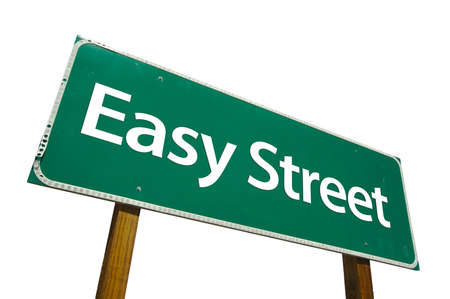 Easy Street road sign isolated on white. Contains clipping path.