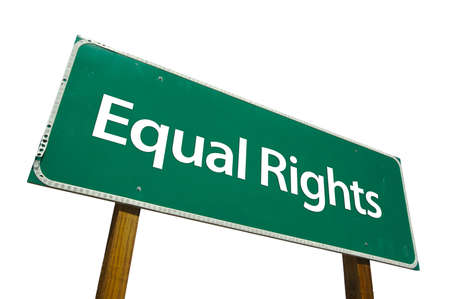 Equal Rights road sign isolated on white. Contains clipping path. photo