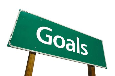 different goals: Goals road sign isolated on white. Contains clipping path. Stock Photo