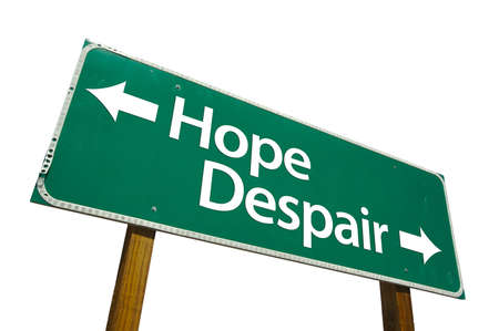 Hope, Despair road sign isolated on white. Contains clipping path. Stock Photo - 2644626