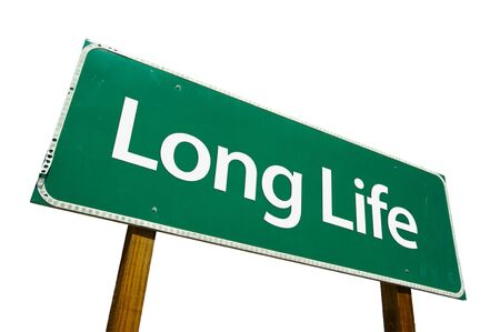 enduring: Long Life road sign isolated on white. Contains clipping path. Stock Photo