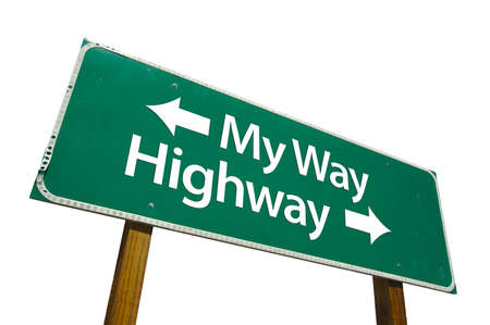 My Way, Highway road sign isolated on white. Contains clipping path. photo