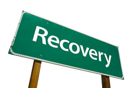 road to recovery: Recovery road sign isolated on white. Contains clipping path.