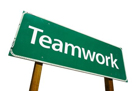 Teamwork road sign isolated on white. Contains clipping path. Stock Photo - 2644622