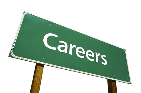 avocation: Careers road sign isolated on white. Contains clipping path.