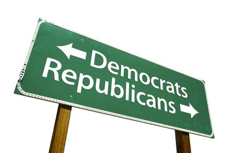 ���clipping path���: Democrats, Republicans road sign isolated on white. Contains clipping path.