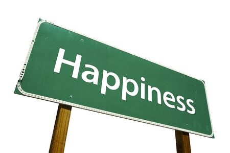 ���clipping path���: Happiness road sign isolated on white. Contains clipping path.