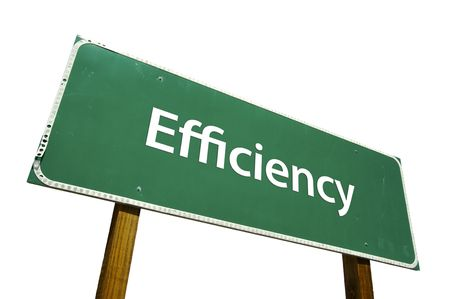 business efficiency: Efficiency road sign isolated on white.