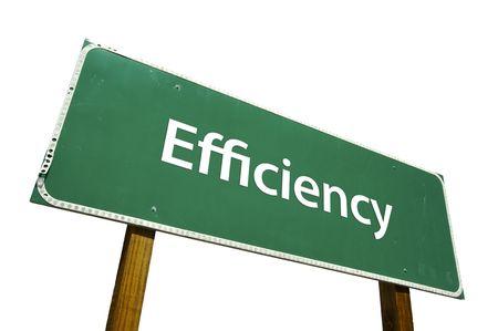 eficiencia: Eficiencia carretera signo aislado en blanco.