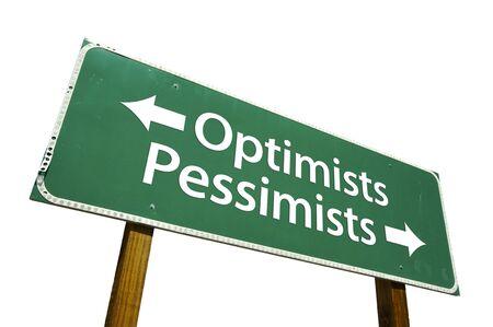 pessimist: Optimists, Pessimists road sign isolated on white. Stock Photo