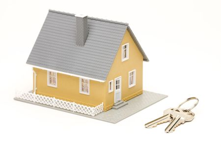Keys and House isolated on a white background.