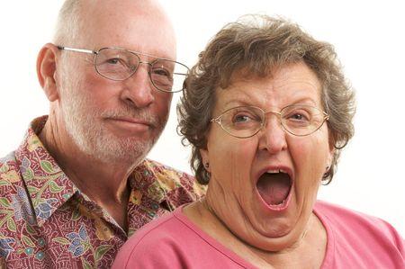 Happy Senior Couple poses for portrait.  Reklamní fotografie