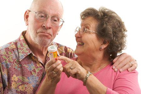 Senior Couple reads a prescription bottle. Stock Photo - 2866871