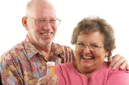 Senior Couple reads a prescription bottle. Stock Photo - 2866867