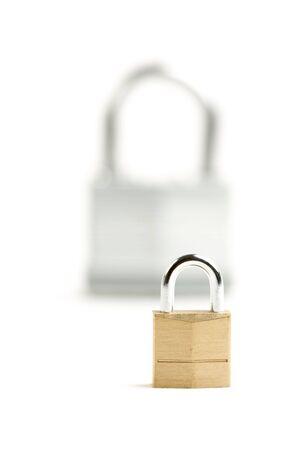 swindle: Pair of Padlocks isolated on a white background. Stock Photo