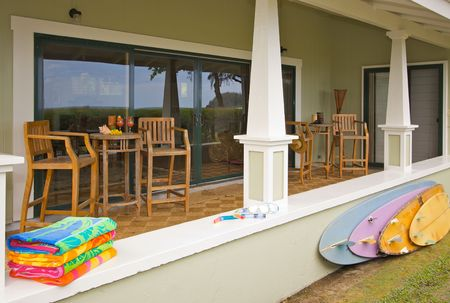 oceanfront: Oceanfront Lanai with Reflection of View. Stock Photo
