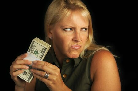 Attractive Woman Gets Greedy About Her Stack of Money Stock Photo - 3223243