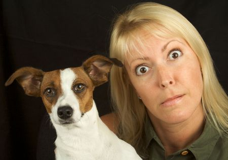 prime adult: Attractive Woman & Her Jack Russell Terrier Dog