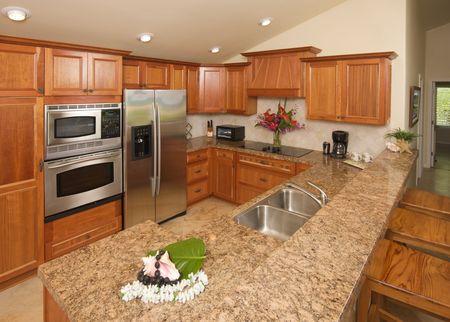 Modern Kitchen with brushed aluminum appliances. Stock Photo - 3223257