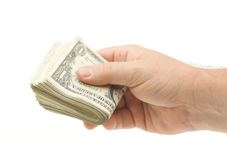 Handing Over Money Isolated on a White Background. photo
