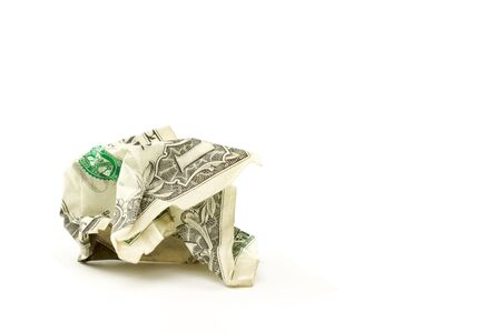 Crumpled Dollar on a White Background. Stock Photo - 3239949
