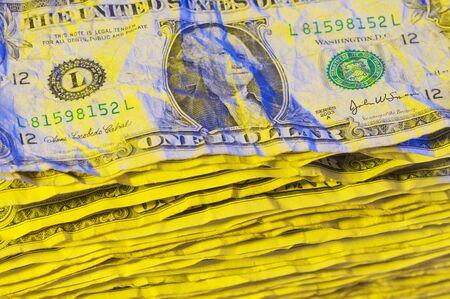 Pile of Crumpled One Dollar Bills. photo