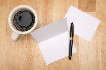 room for your text: Note Card & Envelope with room for your own text and coffee.