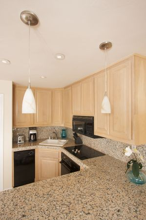 Modern Kitchen Inter with Marble Countertop. Stock Photo - 3286670