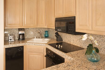 Modern Kitchen Interior with Marble Countertop. Stock Photo - 3286669