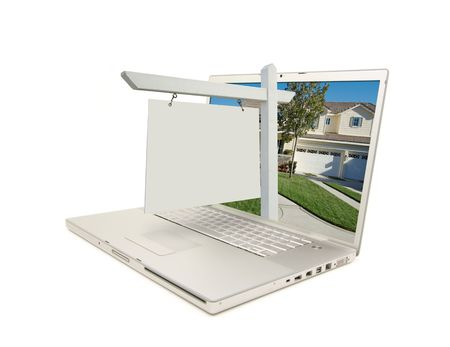 real estate house: Blank Real Estate Sign & New Home on Laptop isolated on a white Background.