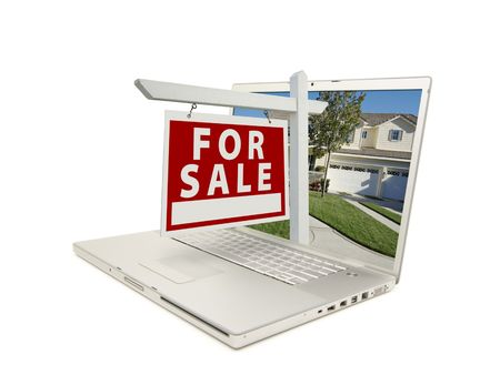 For Sale Sign & New Home on Laptop isolated on a white Background. Stock Photo - 3290358