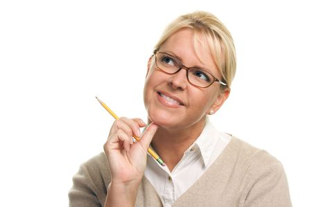 Beautiful Woman with Pencil Isolated on a White Background. photo