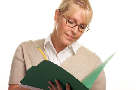 Beautiful Woman with Pencil and Folder taking notes. photo