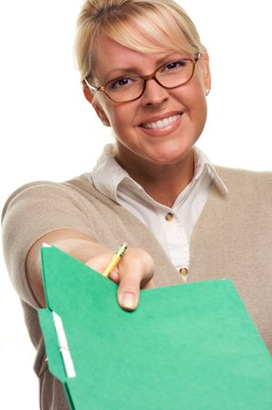 Beautiful Woman with Pencil handing over file folder isolated on White. photo