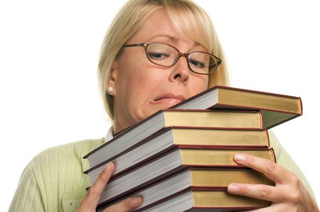 Attractive Student Struggles with Her Books Isolated on a White Background.