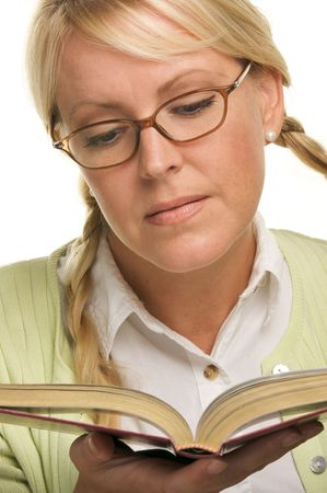 ponytails: Female With Ponytails Reads Her Book isolated on a White Background.