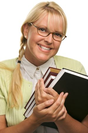 Cute Student with Retainer Carrying Her Books isolated on a White Background. Imagens - 3308816