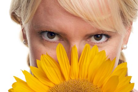 Attractive Blond and Sunflower isolated on a White Background. photo