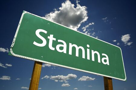 stamina: Stamina Road Sign with dramatic clouds and sky.