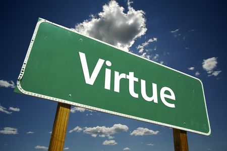 virtue: Virtue Road Sign with Dramatic Clouds and Sky.