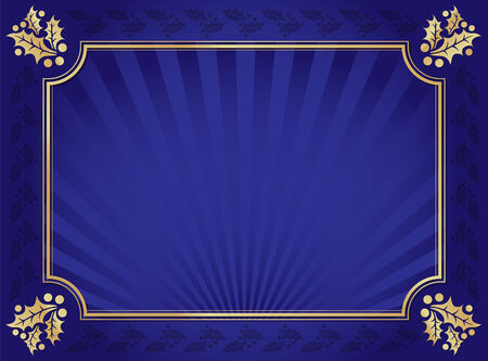 Lustrous Blue and Gold Holly Bordered Background. Ilustrace
