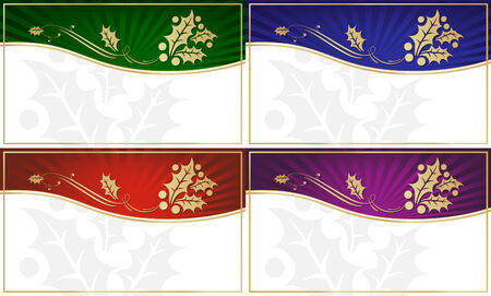 Set of 4 Exotic Holly Adorned Gift Tags with Room for your own text. Vector