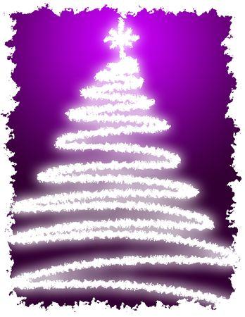 christmas tree illustration: Artistic Christmas Tree with Purple Background Gradation Stock Photo