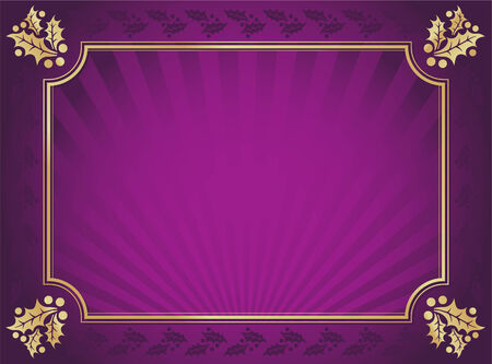 Lustrous Purple and Gold Holly Bordered Background. Vectores