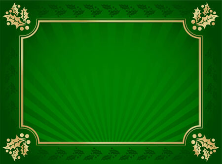 postcard background: Lustrous Green and Gold Holly Bordered Background. Illustration