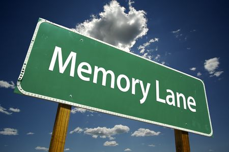 Memory Lane Road Sign with dramatic clouds and sky.