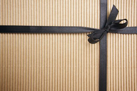 Corrugated Gift Box with Black Satin Ribbon photo