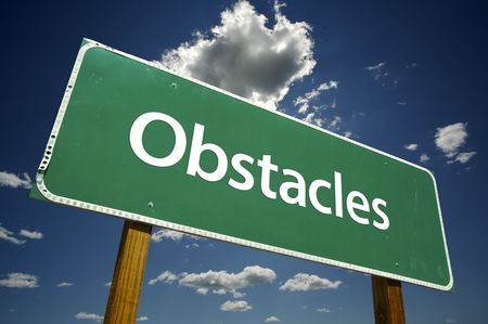 Obstacles Road Sign with dramatic clouds and sky. Stock Photo - 3475121