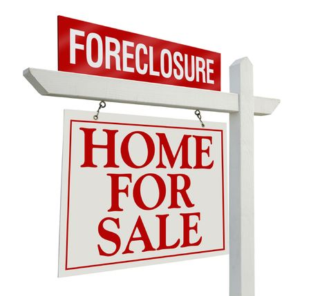 Foreclosure Home For Sale Real Estate Sign Isolated on a White Background. Stock Photo - 3552964